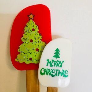 2 Merry Christmas Tree Kitchen Spatulas Baking